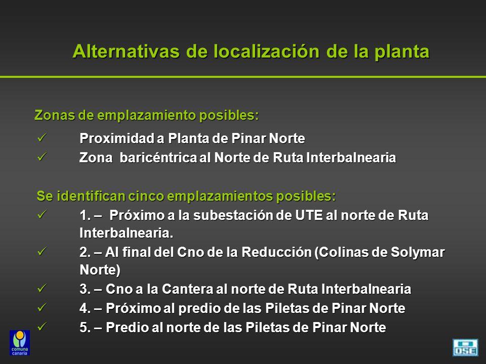 Alternativas de localización de la planta Zonas de emplazamiento posibles: Zonas de emplazamiento posibles: Proximidad a Planta de Pinar Norte Proximi