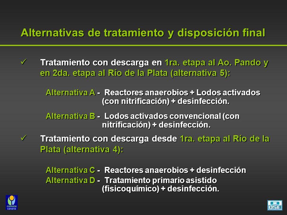 Tratamiento con descarga en 1ra. etapa al Ao. Pando y en 2da. etapa al Río de la Plata (alternativa 5): Tratamiento con descarga en 1ra. etapa al Ao.