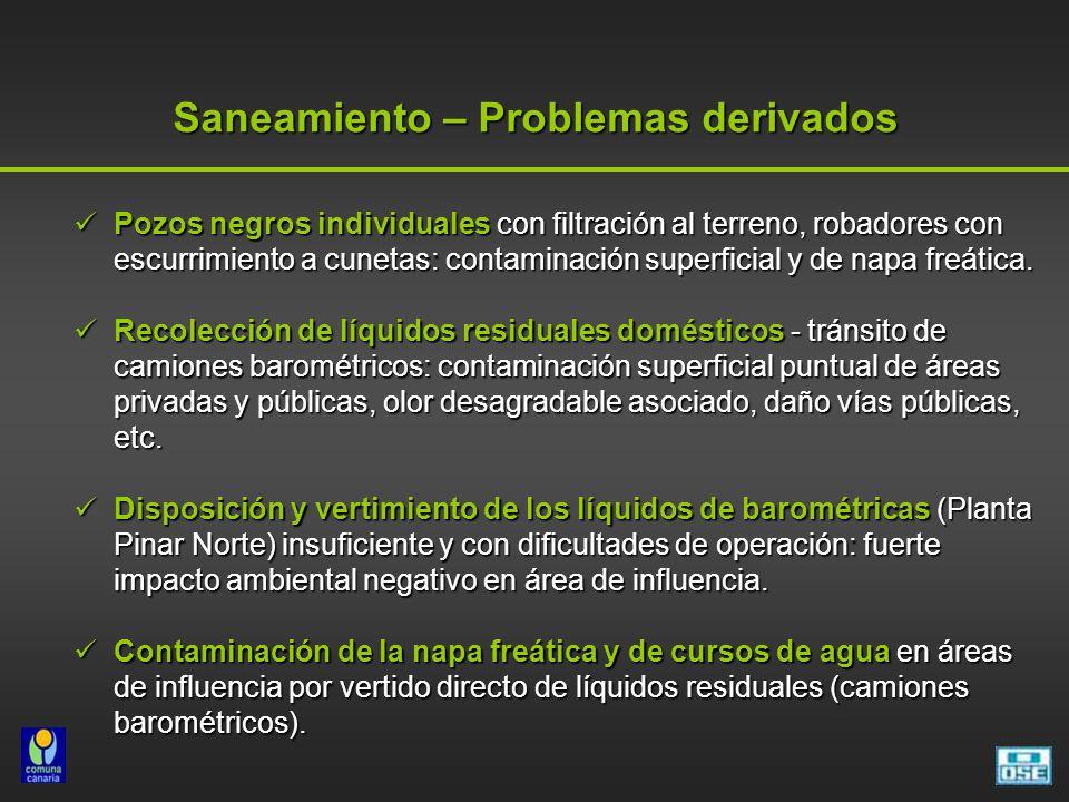 Saneamiento – Problemas derivados Pozos negros individuales con filtración al terreno, robadores con escurrimiento a cunetas: contaminación superficia