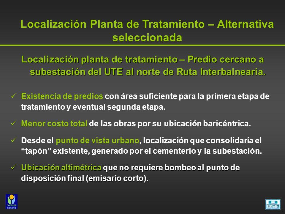 Localización planta de tratamiento – Predio cercano a subestación del UTE al norte de Ruta Interbalnearia. Existencia de predios con área suficiente p