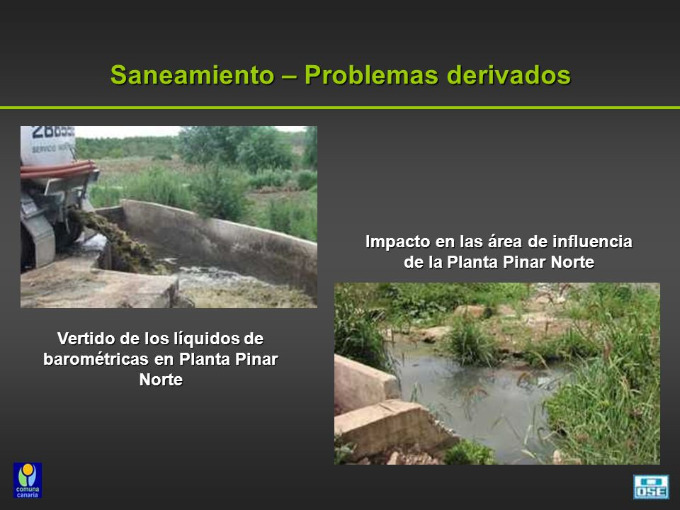 Saneamiento – Problemas derivados Vertido de los líquidos de barométricas en Planta Pinar Norte Impacto en las área de influencia de la Planta Pinar N