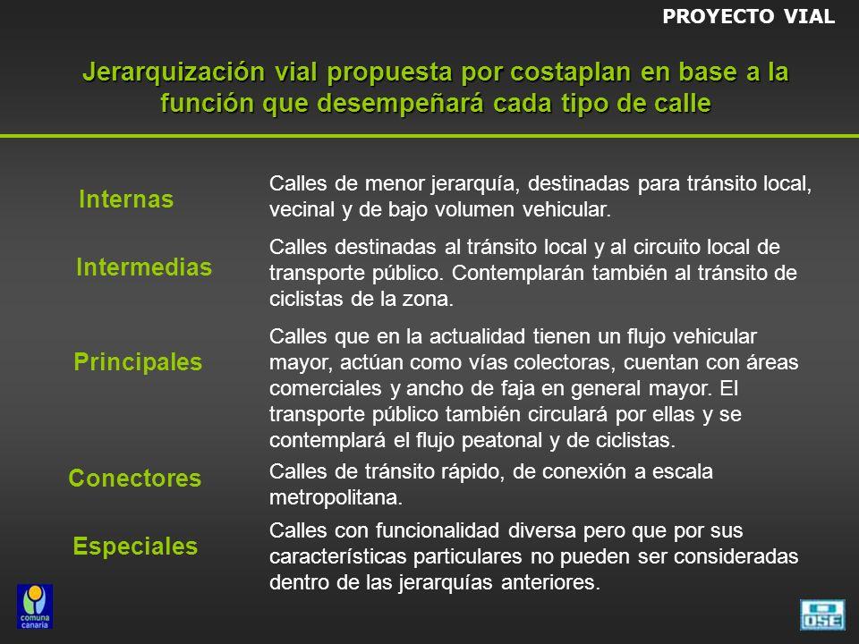 Jerarquización vial propuesta por costaplan en base a la función que desempeñará cada tipo de calle Internas Intermedias Especiales Principales Conectores Calles de menor jerarquía, destinadas para tránsito local, vecinal y de bajo volumen vehicular.