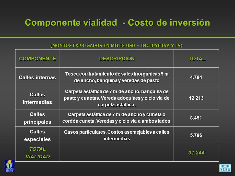 Componente vialidad - Costo de inversión COMPONENTEDESCRIPCIÓN TOTAL TOTAL Calles internas Tosca con tratamiento de sales inorgánicas 5 m de ancho, ba