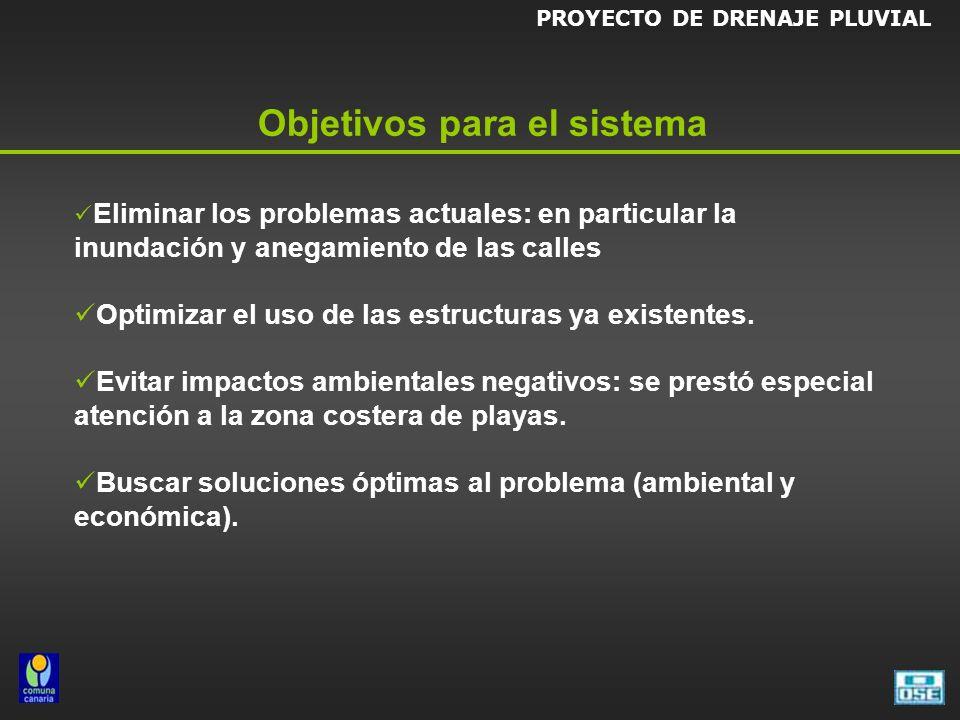 Objetivos para el sistema Eliminar los problemas actuales: en particular la inundación y anegamiento de las calles Optimizar el uso de las estructuras