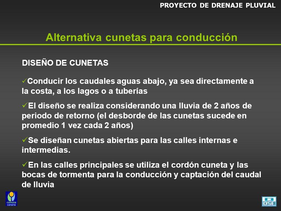 Alternativa cunetas para conducción DISEÑO DE CUNETAS Conducir los caudales aguas abajo, ya sea directamente a la costa, a los lagos o a tuberías El d