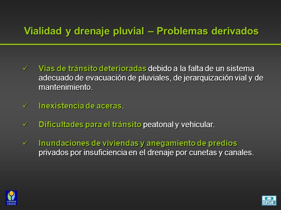 Vialidad y drenaje pluvial – Problemas derivados Vías de tránsito deterioradas debido a la falta de un sistema adecuado de evacuación de pluviales, de jerarquización vial y de mantenimiento.