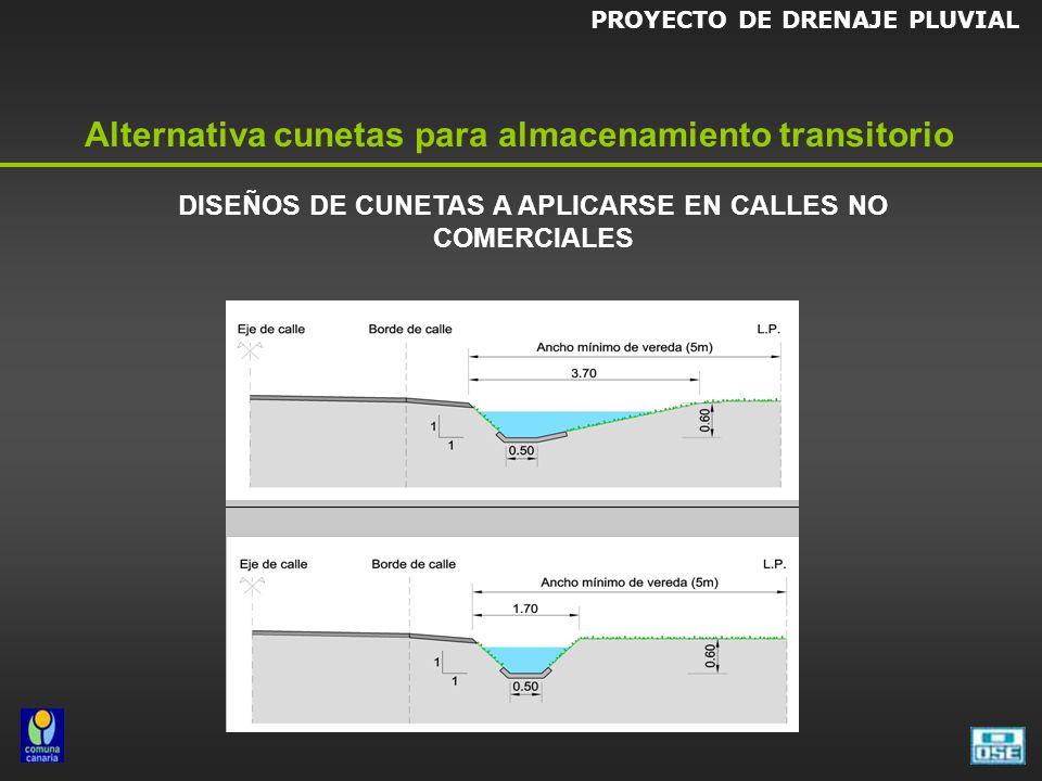 DISEÑOS DE CUNETAS A APLICARSE EN CALLES NO COMERCIALES PROYECTO DE DRENAJE PLUVIAL Alternativa cunetas para almacenamiento transitorio