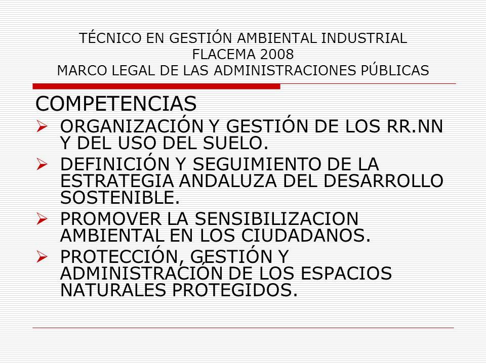 TÉCNICO EN GESTIÓN AMBIENTAL INDUSTRIAL FLACEMA 2008 MARCO LEGAL DE LAS ADMINISTRACIONES PÚBLICAS COMPETENCIAS ORGANIZACIÓN Y GESTIÓN DE LOS RR.NN Y D
