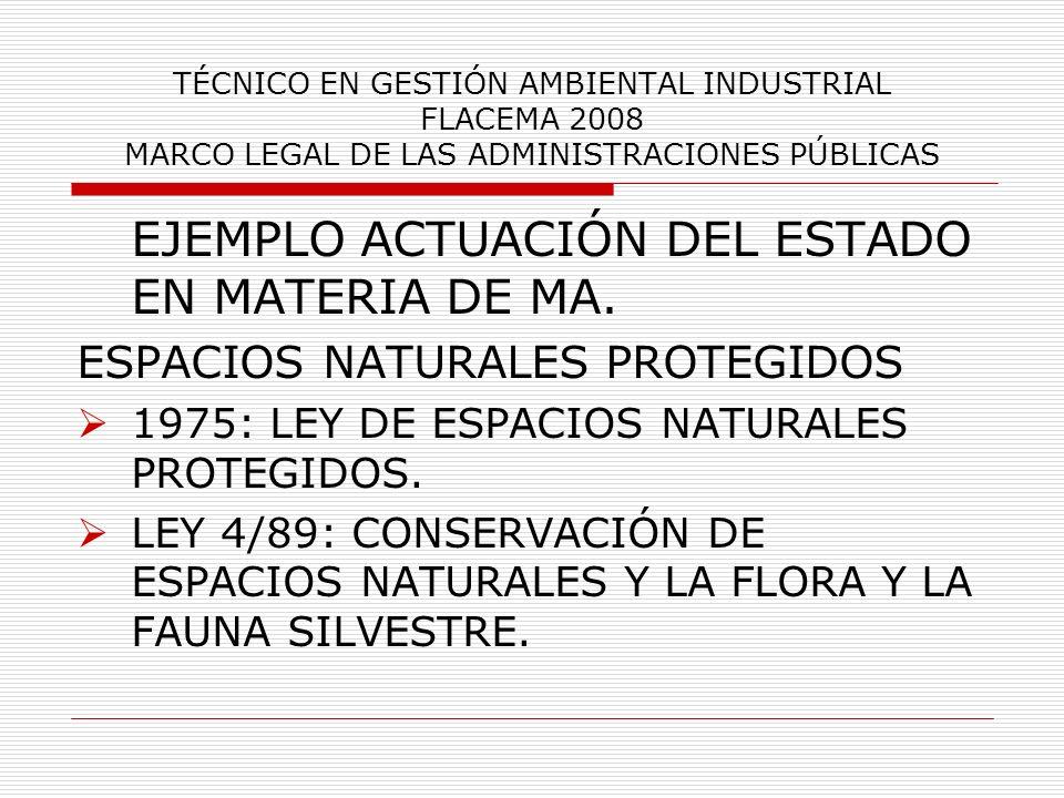 TÉCNICO EN GESTIÓN AMBIENTAL INDUSTRIAL FLACEMA 2008 MARCO LEGAL DE LAS ADMINISTRACIONES PÚBLICAS EJEMPLO ACTUACIÓN DEL ESTADO EN MATERIA DE MA. ESPAC