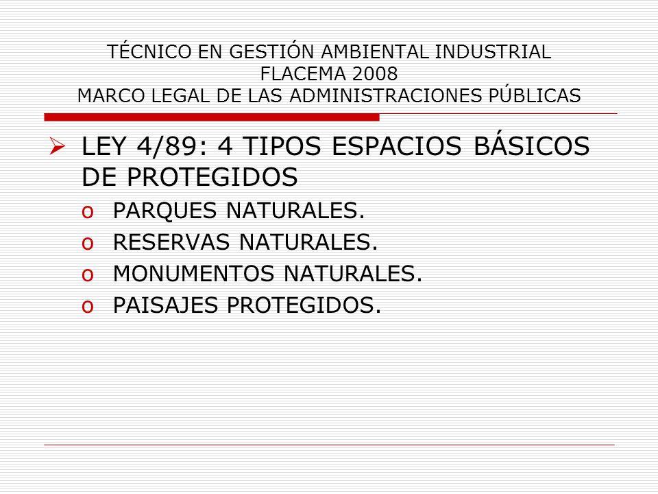 TÉCNICO EN GESTIÓN AMBIENTAL INDUSTRIAL FLACEMA 2008 MARCO LEGAL DE LAS ADMINISTRACIONES PÚBLICAS LEY 4/89: 4 TIPOS ESPACIOS BÁSICOS DE PROTEGIDOS oPA