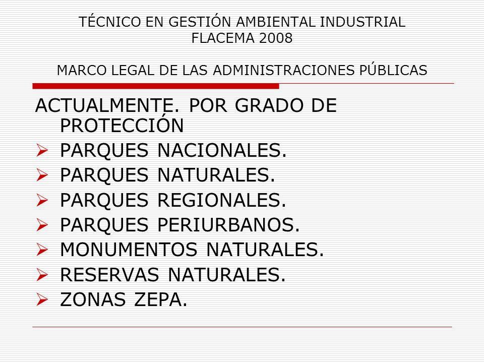TÉCNICO EN GESTIÓN AMBIENTAL INDUSTRIAL FLACEMA 2008 MARCO LEGAL DE LAS ADMINISTRACIONES PÚBLICAS ACTUALMENTE. POR GRADO DE PROTECCIÓN PARQUES NACIONA