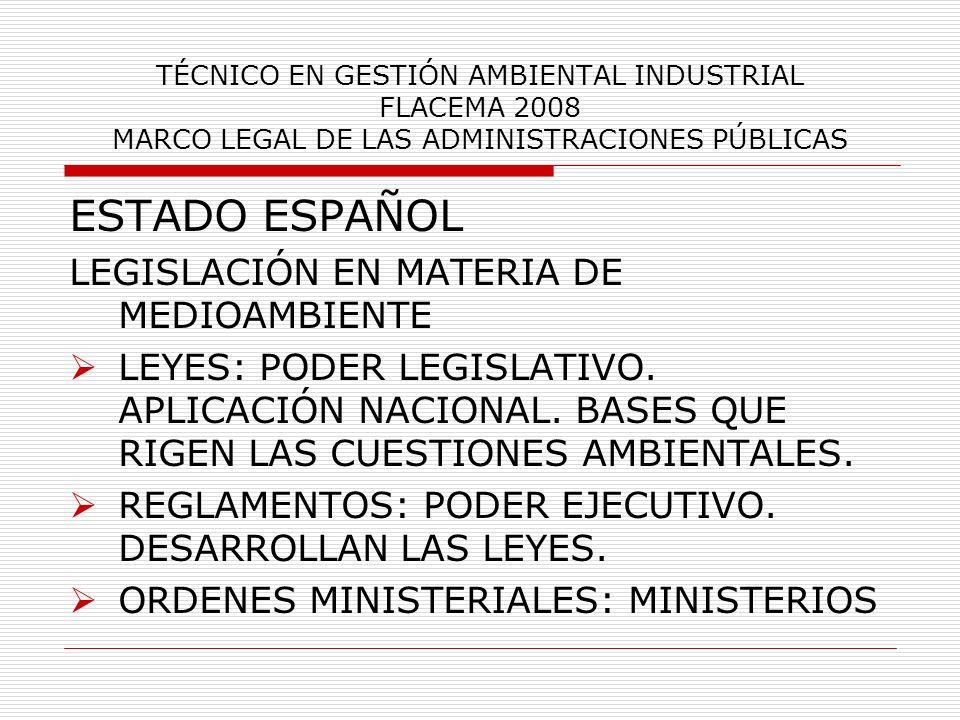 TÉCNICO EN GESTIÓN AMBIENTAL INDUSTRIAL FLACEMA 2008 MARCO LEGAL DE LAS ADMINISTRACIONES PÚBLICAS ESTADO ESPAÑOL LEGISLACIÓN EN MATERIA DE MEDIOAMBIEN