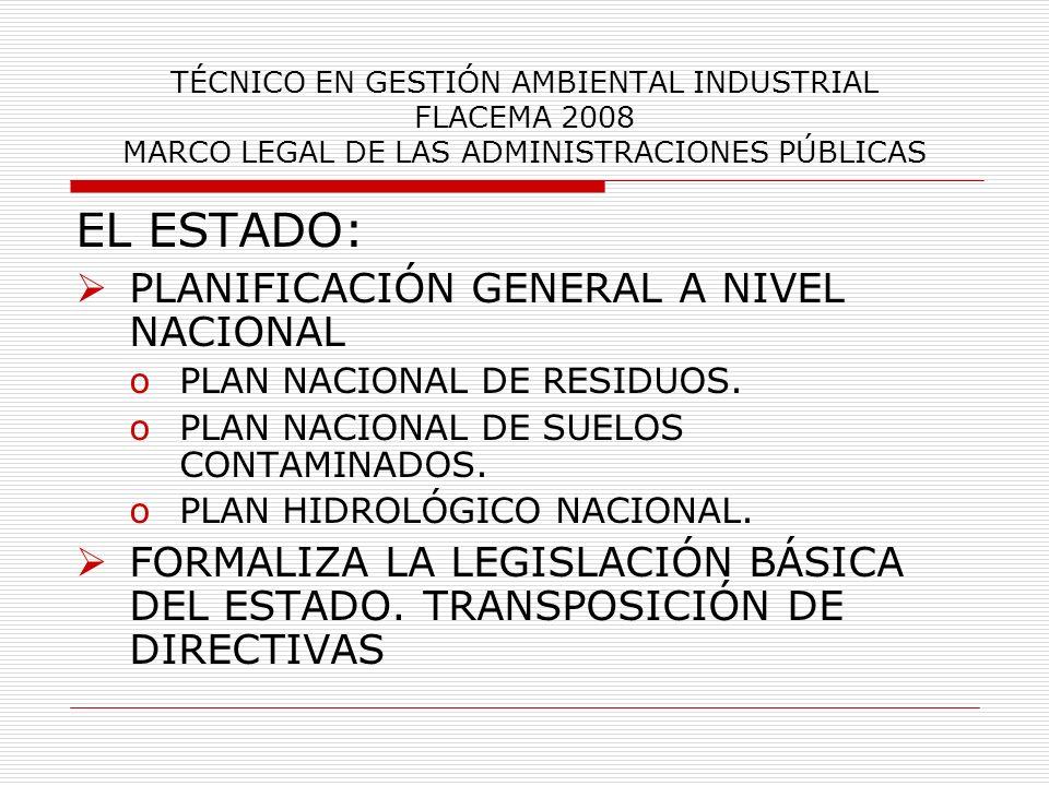 TÉCNICO EN GESTIÓN AMBIENTAL INDUSTRIAL FLACEMA 2008 MARCO LEGAL DE LAS ADMINISTRACIONES PÚBLICAS EL ESTADO: PLANIFICACIÓN GENERAL A NIVEL NACIONAL oP