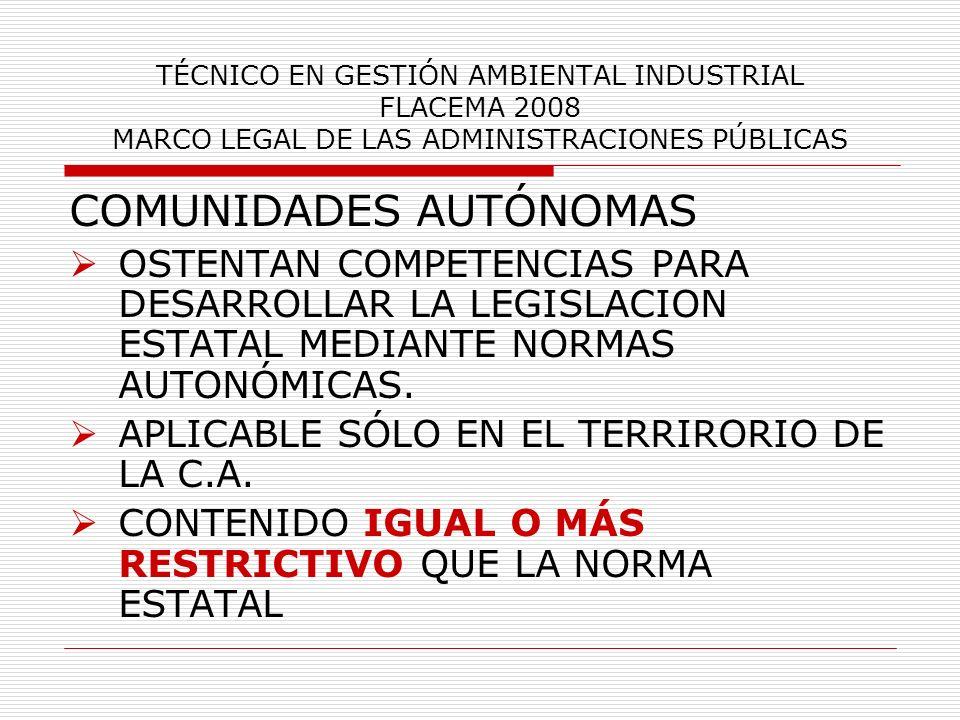 TÉCNICO EN GESTIÓN AMBIENTAL INDUSTRIAL FLACEMA 2008 MARCO LEGAL DE LAS ADMINISTRACIONES PÚBLICAS SI LA LEGISLACION AUTONOMICA CONTRADICE LA ESTATAL, SE APLICA LA SEGUNDA.