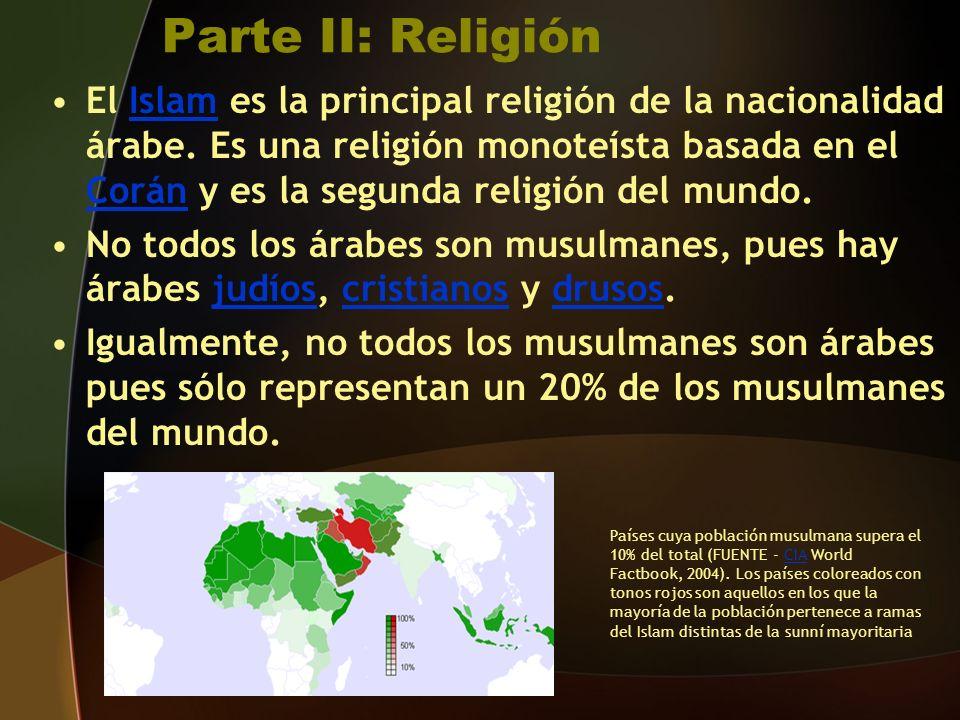 Parte II: Religión El Islam es la principal religión de la nacionalidad árabe.