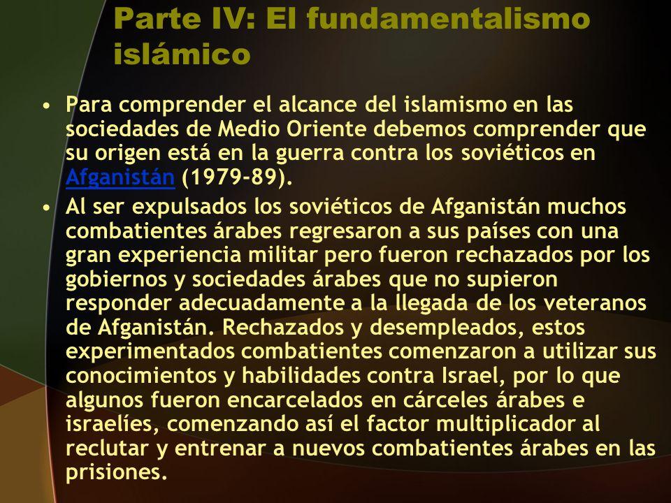 Parte IV: El fundamentalismo islámico Para comprender el alcance del islamismo en las sociedades de Medio Oriente debemos comprender que su origen está en la guerra contra los soviéticos en Afganistán (1979-89).