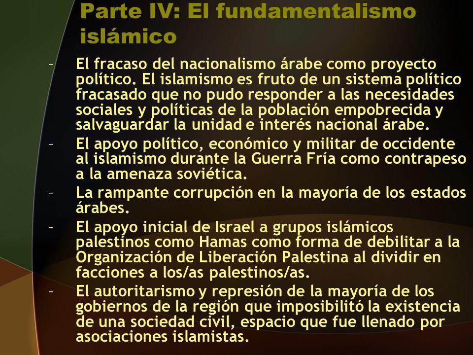 Parte IV: El fundamentalismo islámico –El fracaso del nacionalismo árabe como proyecto político.