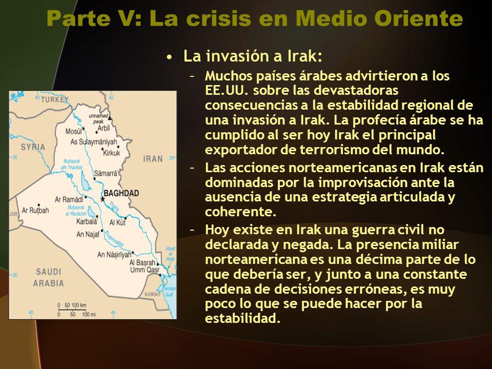 Parte V: La crisis en Medio Oriente La invasión a Irak: –Muchos países árabes advirtieron a los EE.UU.