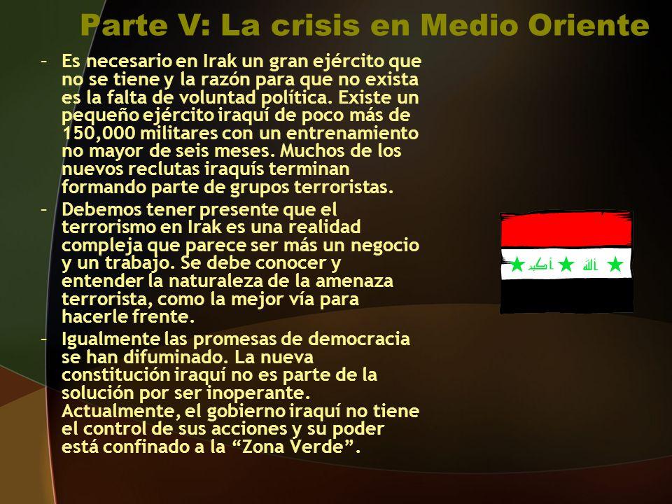 Parte V: La crisis en Medio Oriente –Es necesario en Irak un gran ejército que no se tiene y la razón para que no exista es la falta de voluntad política.
