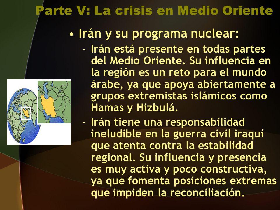 Parte V: La crisis en Medio Oriente Irán y su programa nuclear: –Irán está presente en todas partes del Medio Oriente.