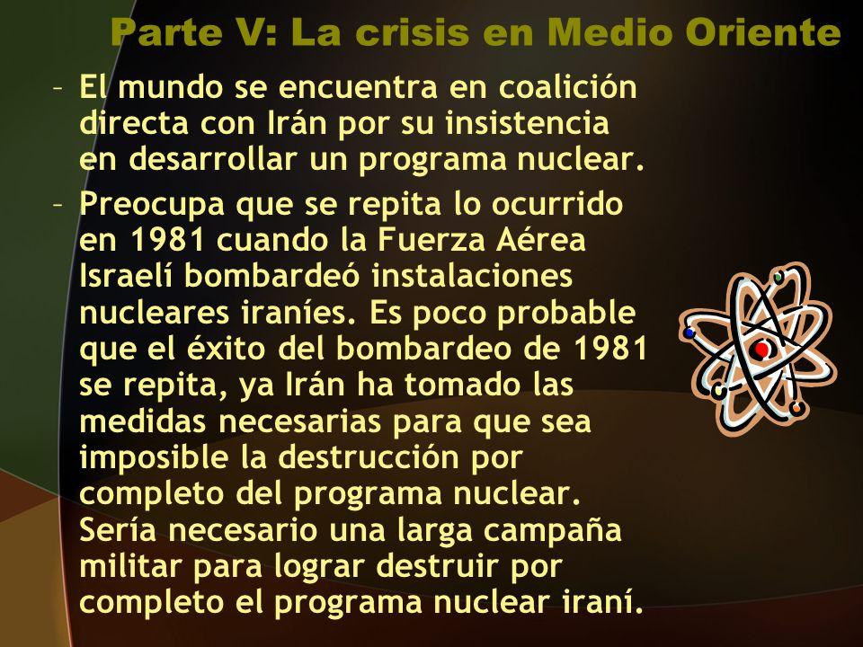Parte V: La crisis en Medio Oriente –El mundo se encuentra en coalición directa con Irán por su insistencia en desarrollar un programa nuclear.