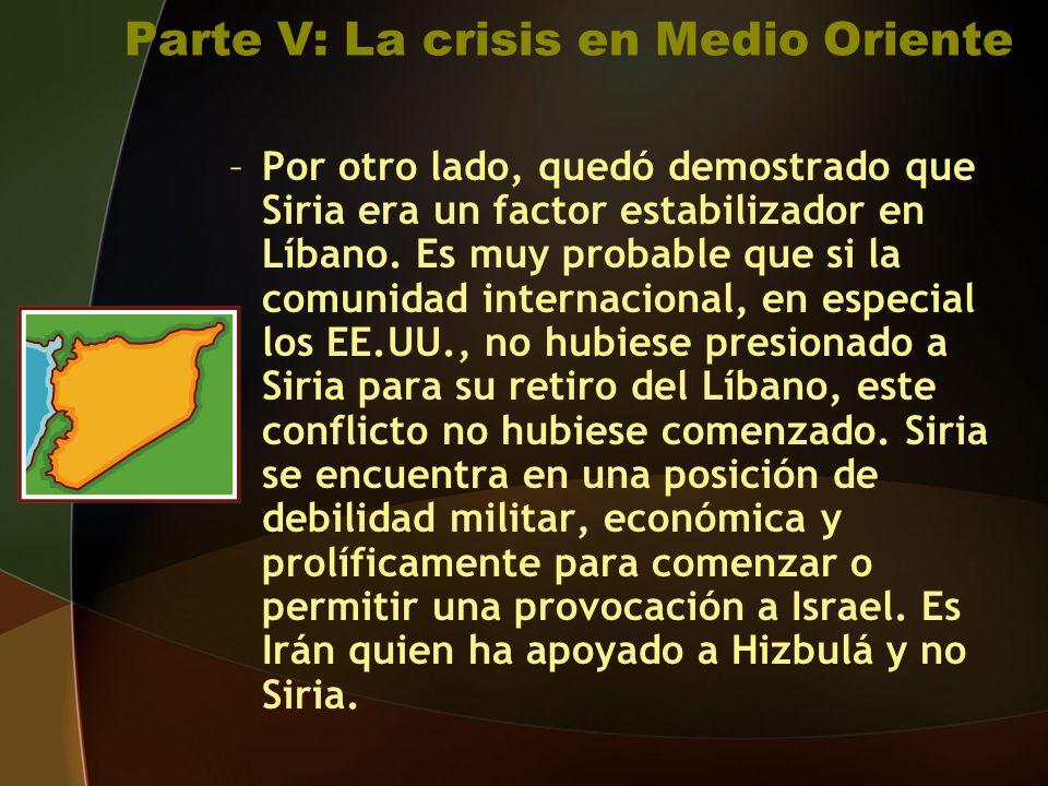 Parte V: La crisis en Medio Oriente –Por otro lado, quedó demostrado que Siria era un factor estabilizador en Líbano.