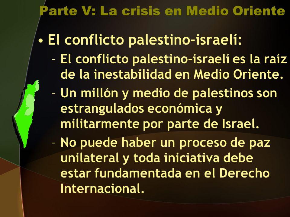 Parte V: La crisis en Medio Oriente El conflicto palestino-israelí: –El conflicto palestino-israelí es la raíz de la inestabilidad en Medio Oriente.