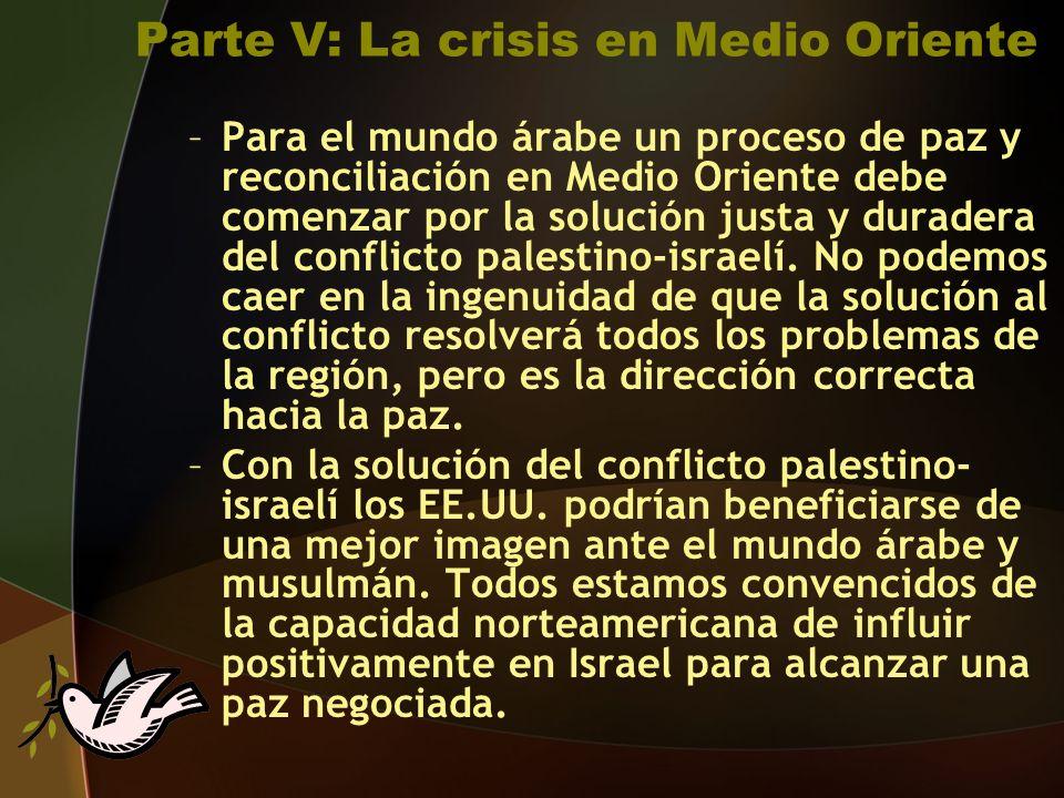 Parte V: La crisis en Medio Oriente –Para el mundo árabe un proceso de paz y reconciliación en Medio Oriente debe comenzar por la solución justa y duradera del conflicto palestino-israelí.
