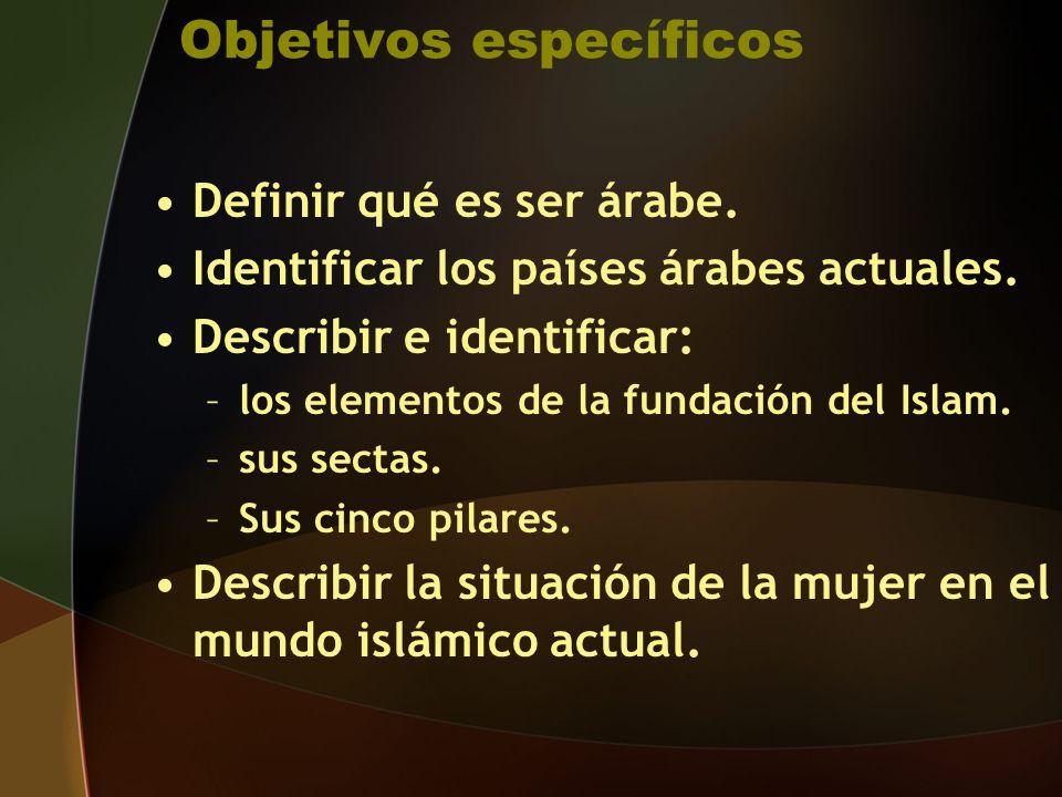 Objetivos específicos Definir qué es ser árabe.Identificar los países árabes actuales.