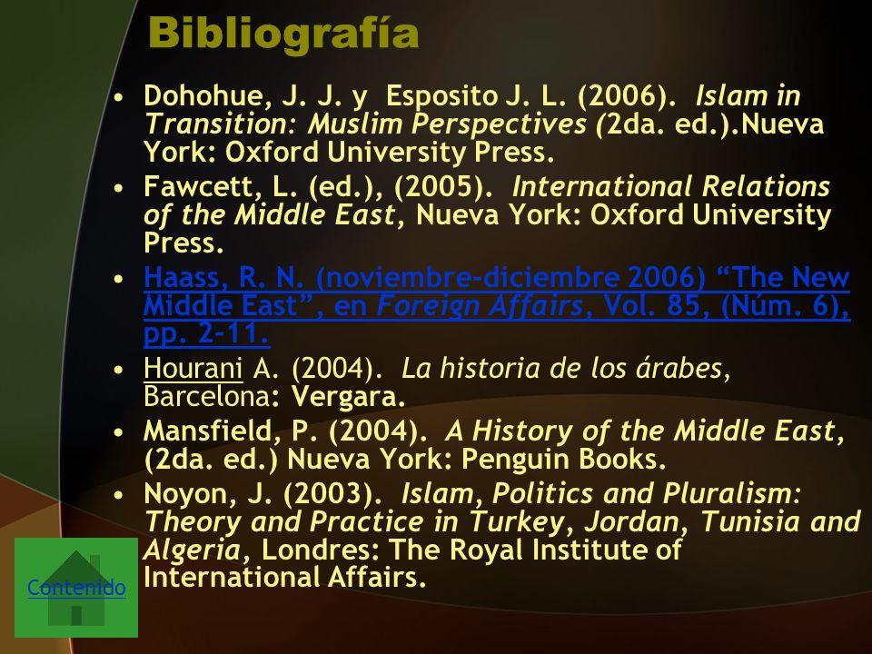 Bibliografía Dohohue, J.J. y Esposito J. L. (2006).