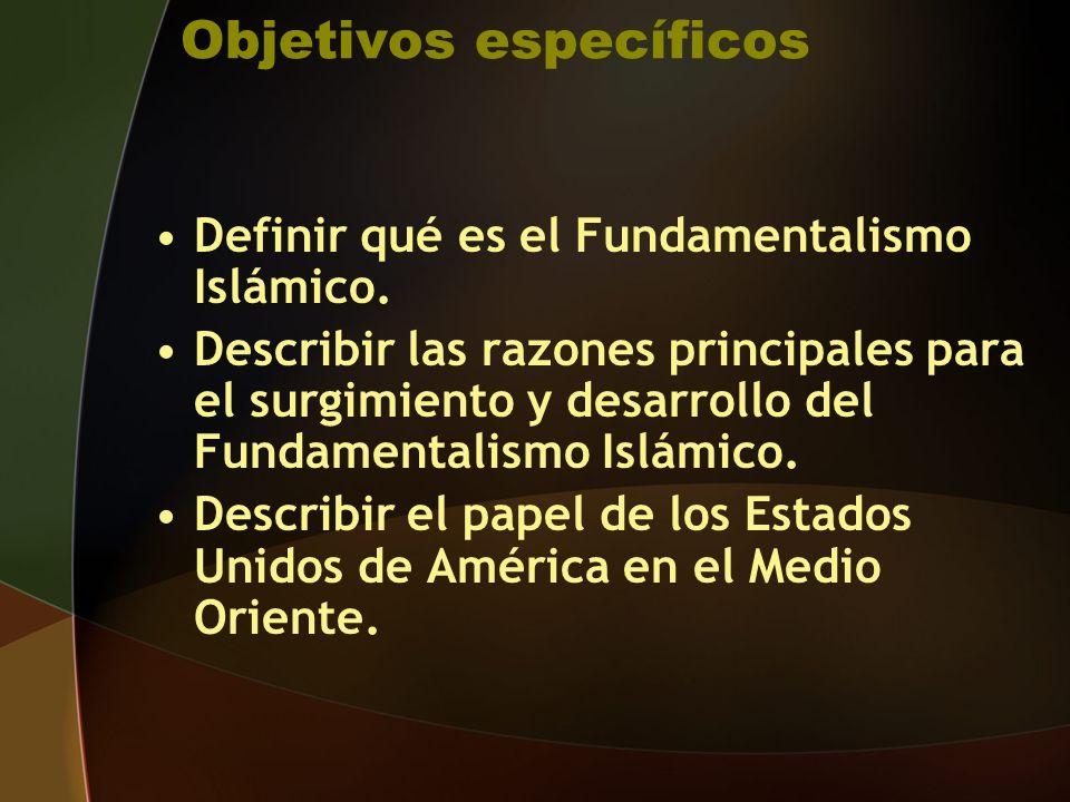 Objetivos específicos Definir qué es el Fundamentalismo Islámico.