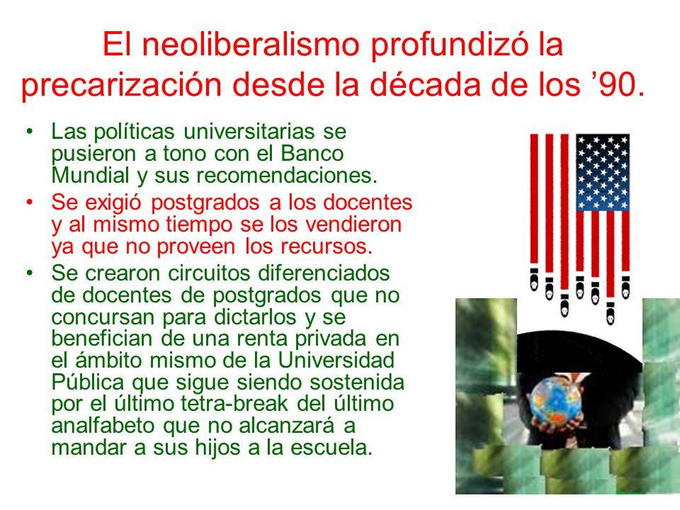 El neoliberalismo profundizó la precarización desde la década de los 90. Las políticas universitarias se pusieron a tono con el Banco Mundial y sus re