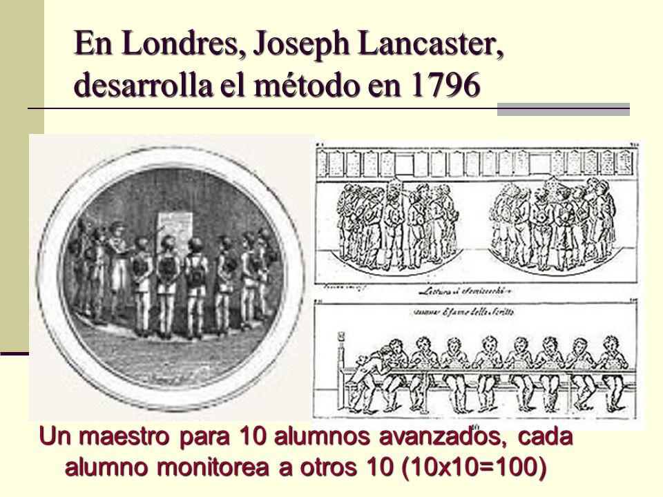 En Londres, Joseph Lancaster, desarrolla el método en 1796 Un maestro para 10 alumnos avanzados, cada alumno monitorea a otros 10 (10x10=100)