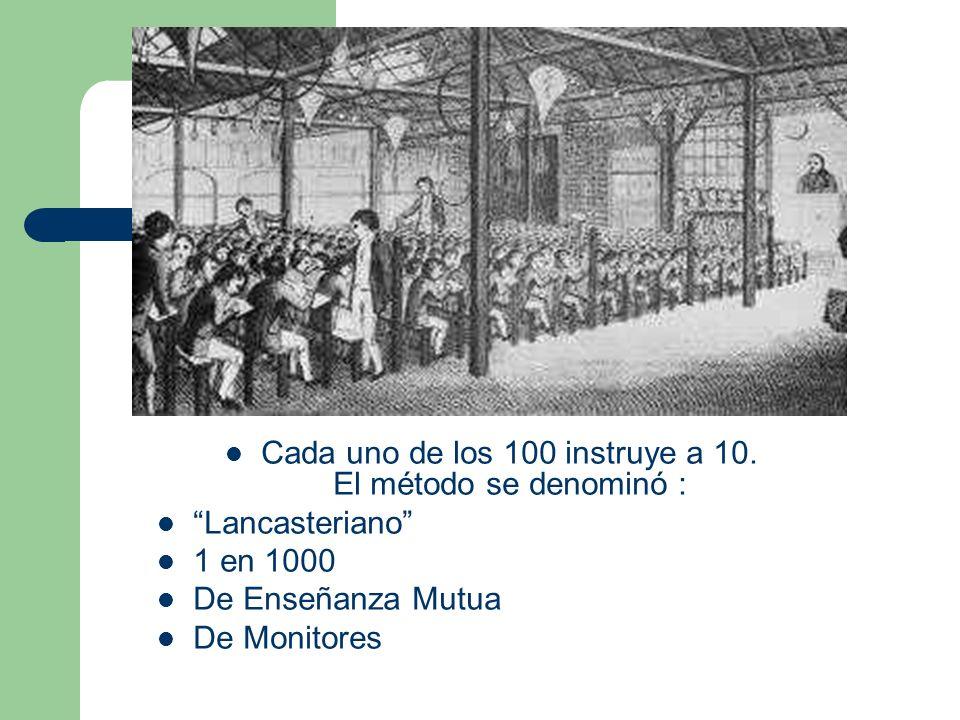 Cada uno de los 100 instruye a 10. El método se denominó : Lancasteriano 1 en 1000 De Enseñanza Mutua De Monitores