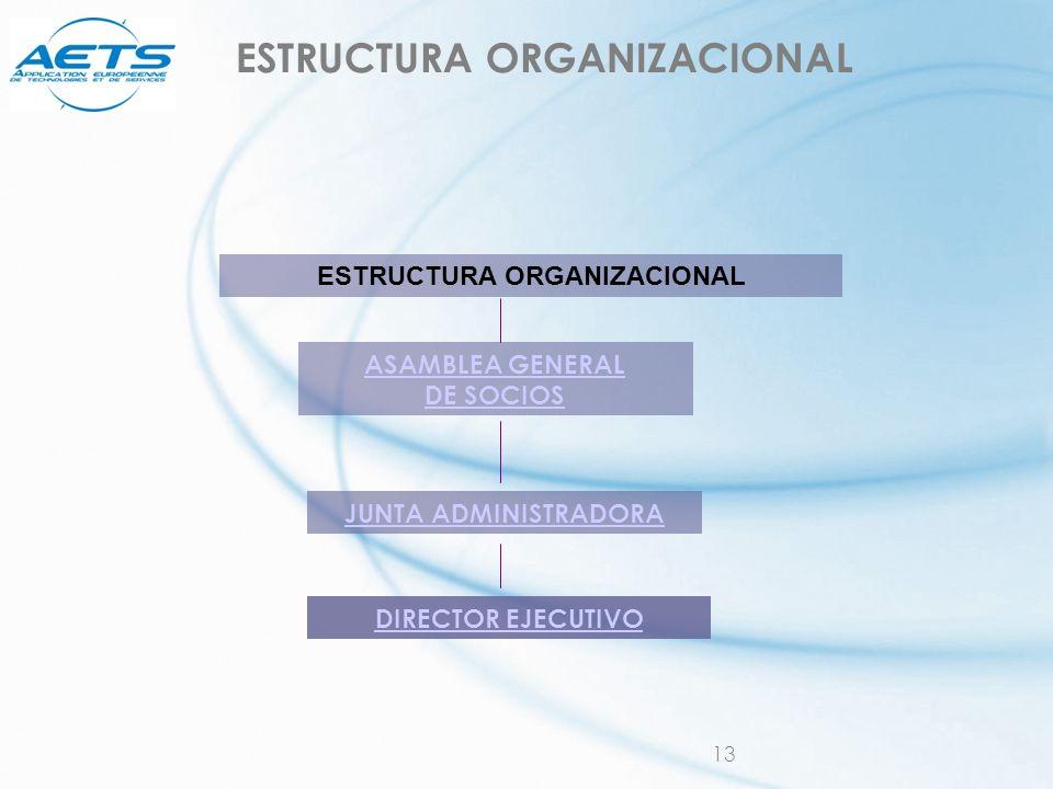 13 ESTRUCTURA ORGANIZACIONAL ASAMBLEA GENERAL DE SOCIOS JUNTA ADMINISTRADORA DIRECTOR EJECUTIVO
