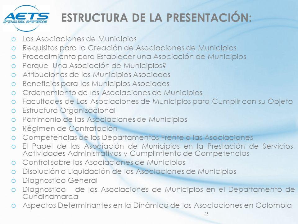 2 ESTRUCTURA DE LA PRESENTACIÓN: oLas Asociaciones de Municipios oRequisitos para la Creación de Asociaciones de Municipios oProcedimiento para Establ