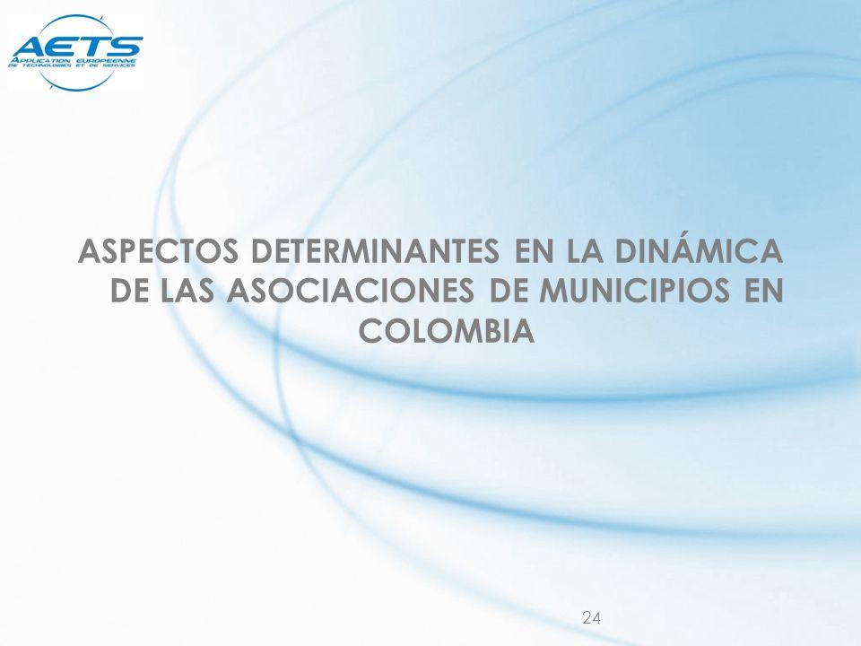 24 ASPECTOS DETERMINANTES EN LA DINÁMICA DE LAS ASOCIACIONES DE MUNICIPIOS EN COLOMBIA
