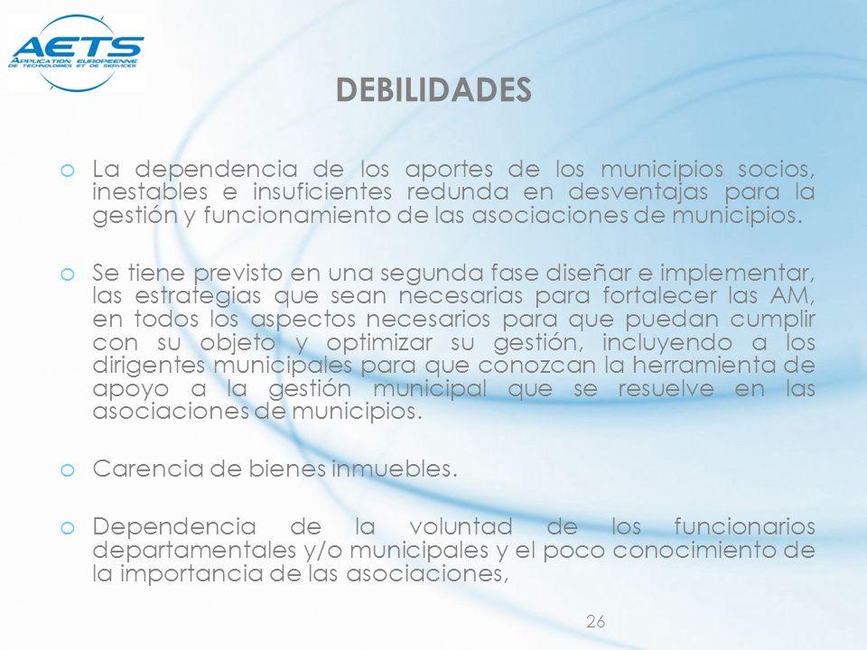 26 DEBILIDADES oLa dependencia de los aportes de los municipios socios, inestables e insuficientes redunda en desventajas para la gestión y funcionami