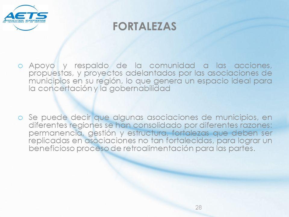 28 FORTALEZAS oApoyo y respaldo de la comunidad a las acciones, propuestas, y proyectos adelantados por las asociaciones de municipios en su región, l