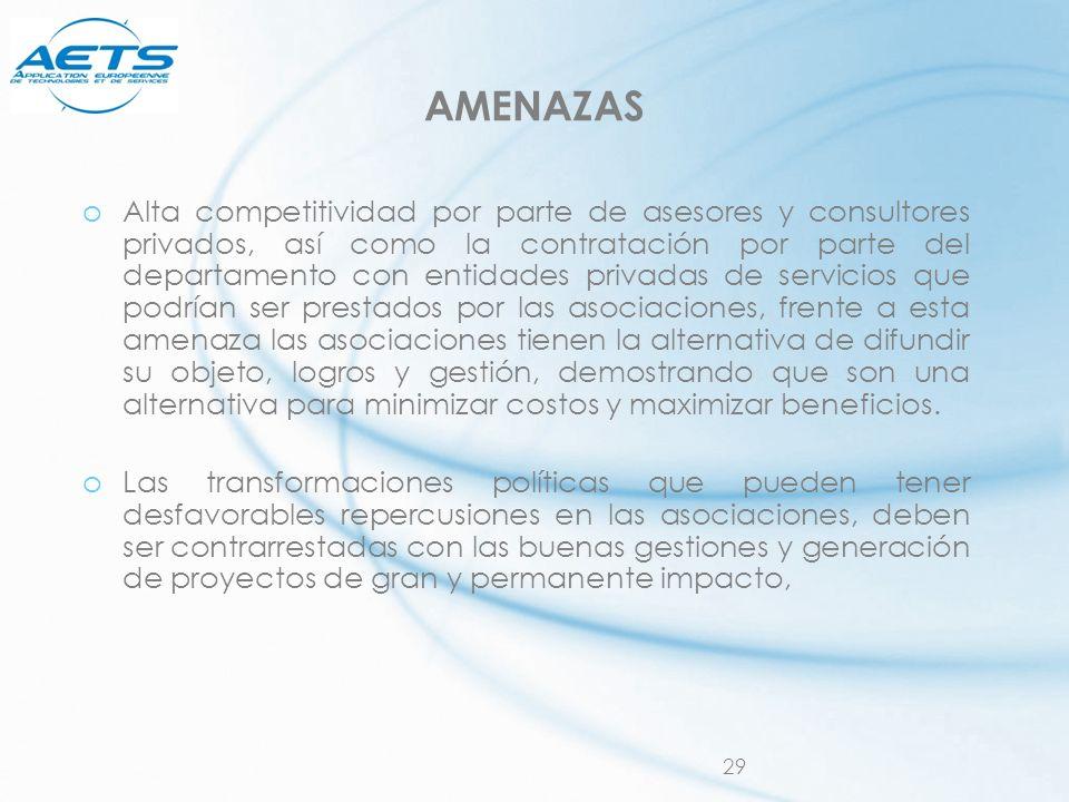 29 AMENAZAS oAlta competitividad por parte de asesores y consultores privados, así como la contratación por parte del departamento con entidades priva
