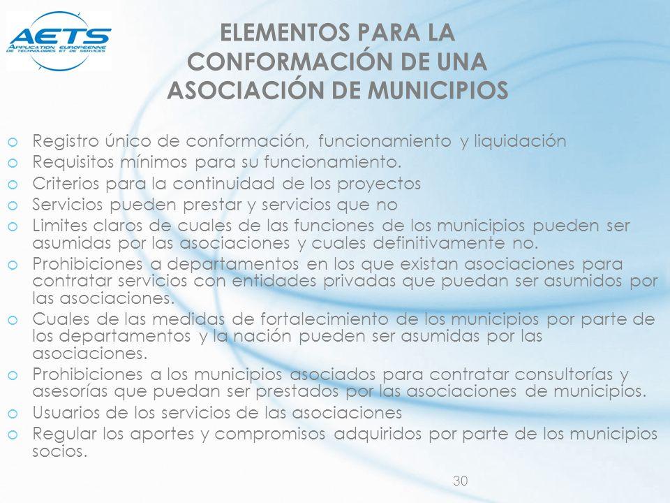 30 ELEMENTOS PARA LA CONFORMACIÓN DE UNA ASOCIACIÓN DE MUNICIPIOS oRegistro único de conformación, funcionamiento y liquidación oRequisitos mínimos pa