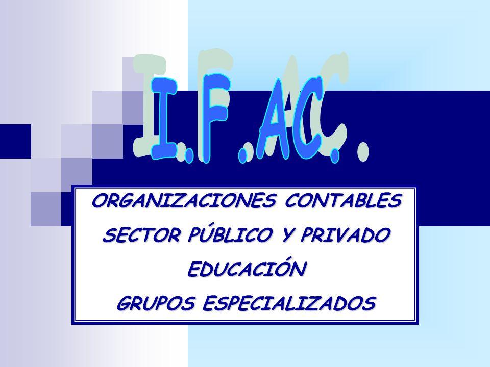 ORGANIZACIONES CONTABLES SECTOR PÚBLICO Y PRIVADO EDUCACIÓN GRUPOS ESPECIALIZADOS