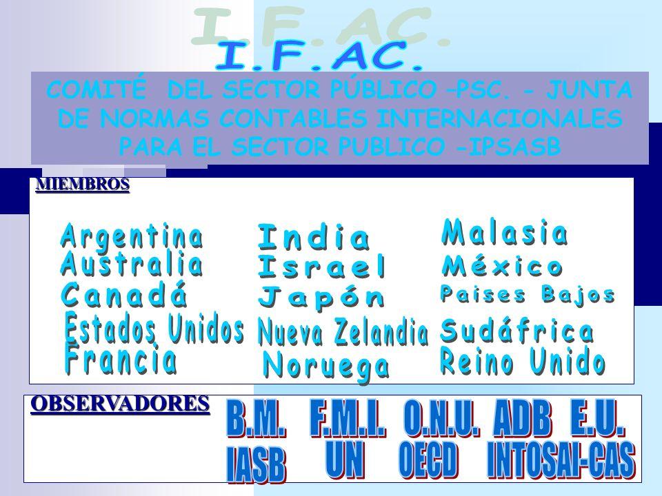 COMITÉ DEL SECTOR PÚBLICO –PSC. - JUNTA DE NORMAS CONTABLES INTERNACIONALES PARA EL SECTOR PUBLICO -IPSASBMIEMBROS OBSERVADORES