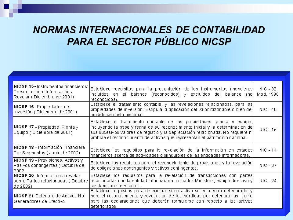 NORMAS INTERNACIONALES DE CONTABILIDAD PARA EL SECTOR PÚBLICO NICSP