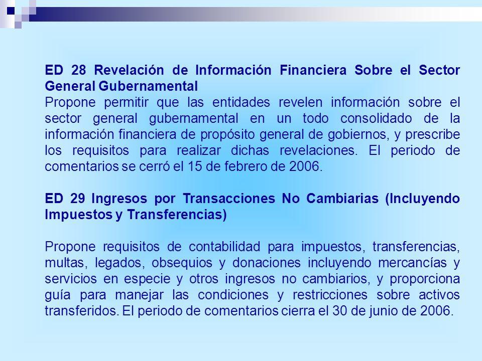ED 28 Revelación de Información Financiera Sobre el Sector General Gubernamental Propone permitir que las entidades revelen información sobre el secto