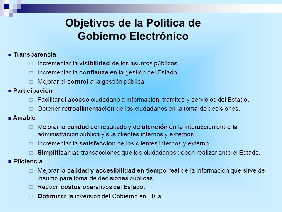 Transparencia Incrementar la visibilidad de los asuntos públicos. Incrementar la confianza en la gestión del Estado. Mejorar el control a la gestión p