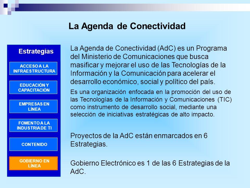 La Agenda de Conectividad La Agenda de Conectividad (AdC) es un Programa del Ministerio de Comunicaciones que busca masificar y mejorar el uso de las