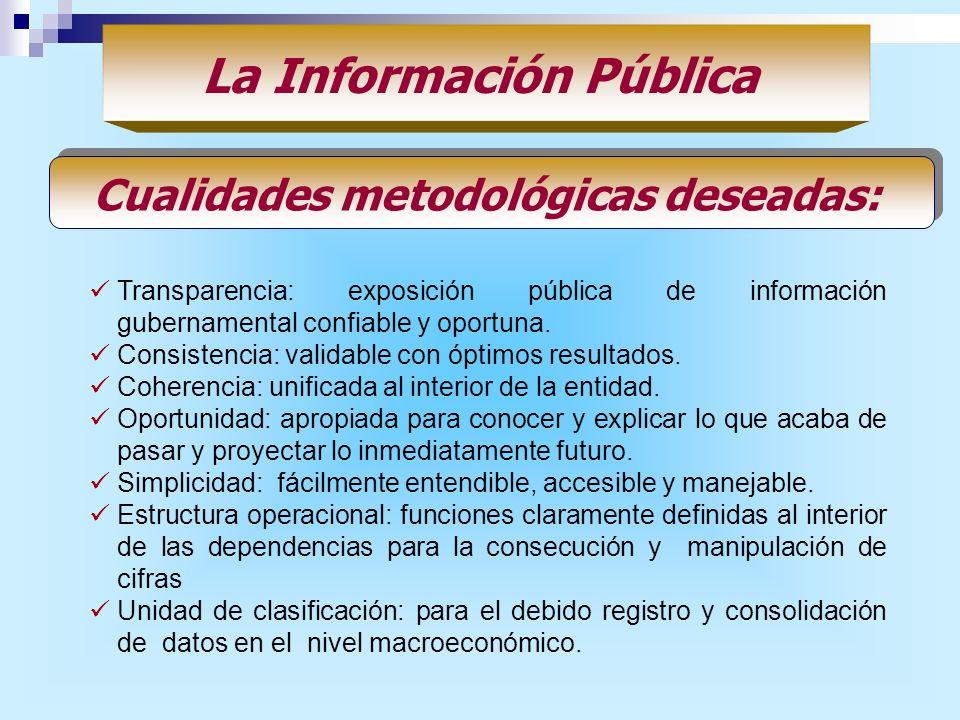 Transparencia: exposición pública de información gubernamental confiable y oportuna. Consistencia: validable con óptimos resultados. Coherencia: unifi