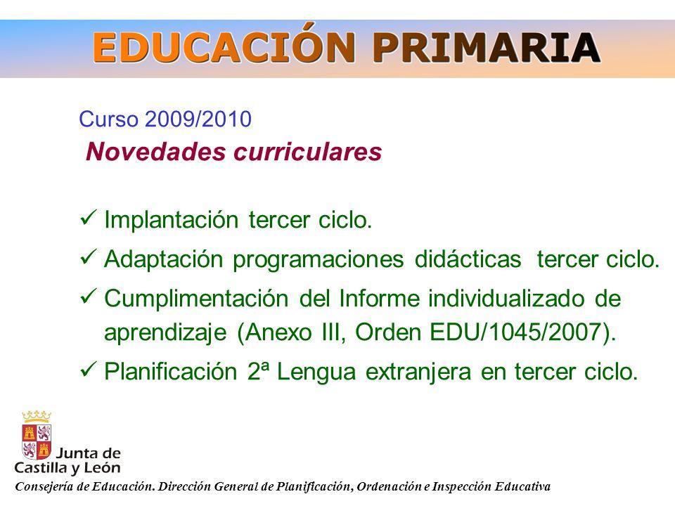 Consejería de Educación. Dirección General de Planificación, Ordenación e Inspección Educativa Curso 2009/2010 Novedades curriculares Implantación ter