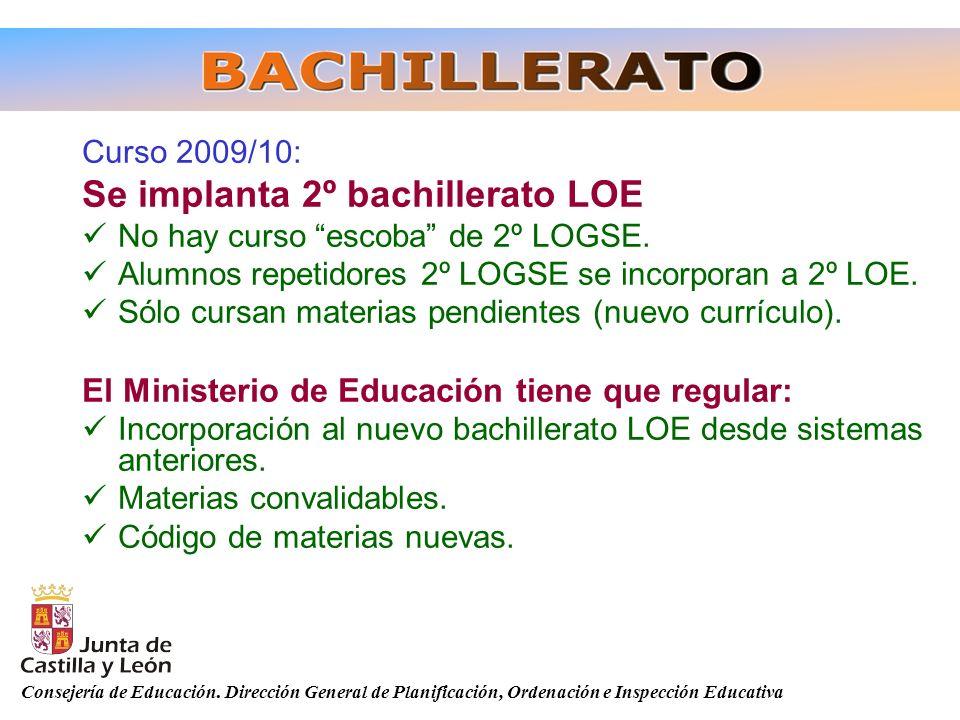 Consejería de Educación. Dirección General de Planificación, Ordenación e Inspección Educativa Curso 2009/10: Se implanta 2º bachillerato LOE No hay c